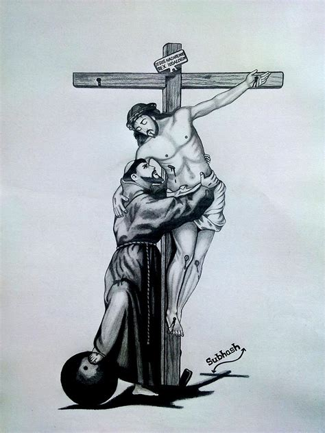 saint francis of assisi embracing christ on the cross