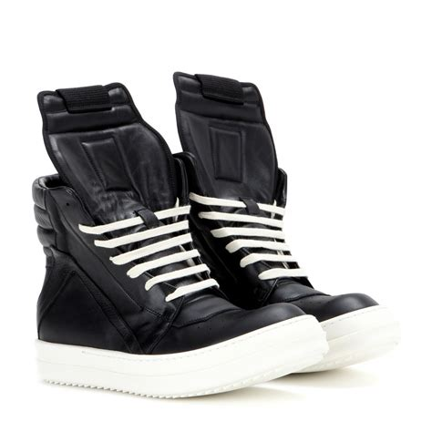 High Top Sneakers lyst rick owens geobasket leather high top sneakers in black