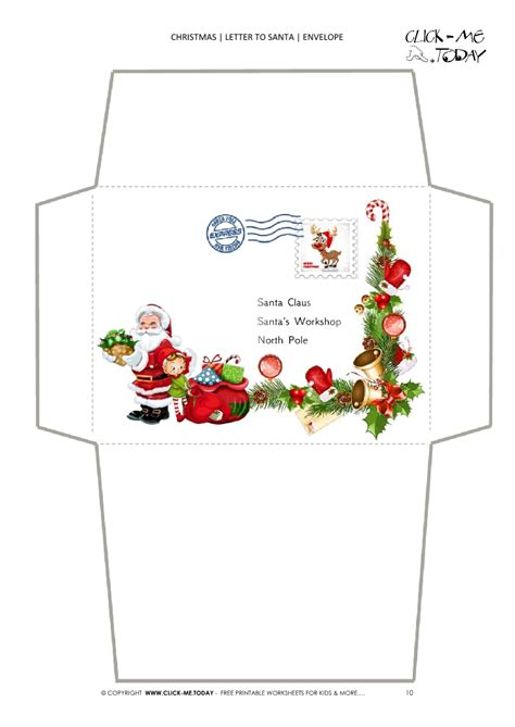 christmas envelope letter to santa template with st 10