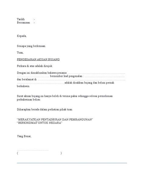 surat akuan bujang ketua kung