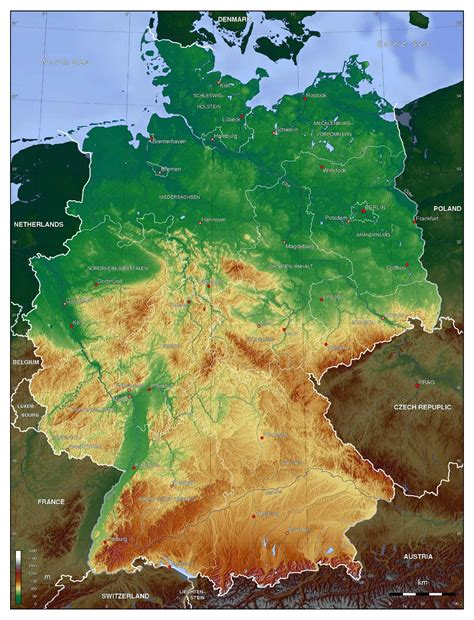 large map of germany large detailed physical map of germany germany europe