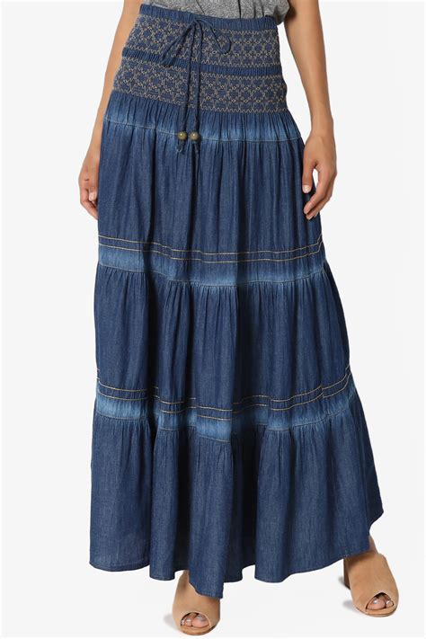 Maxi A Line By Irbah themogan s embroidered tiered a line smocked waist