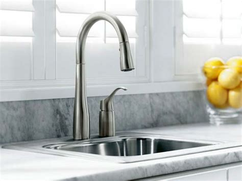 kitchen sink and faucets kohler k 647 vs simplice pull kitchen sink faucet