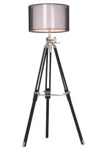 ansel tripod chrome amp black floor lamp fischer gambino