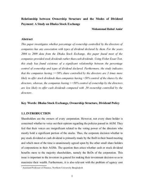 policy research paper dividend policy research paper
