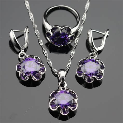 flower purple amethyst 925 silver jewelry sets for