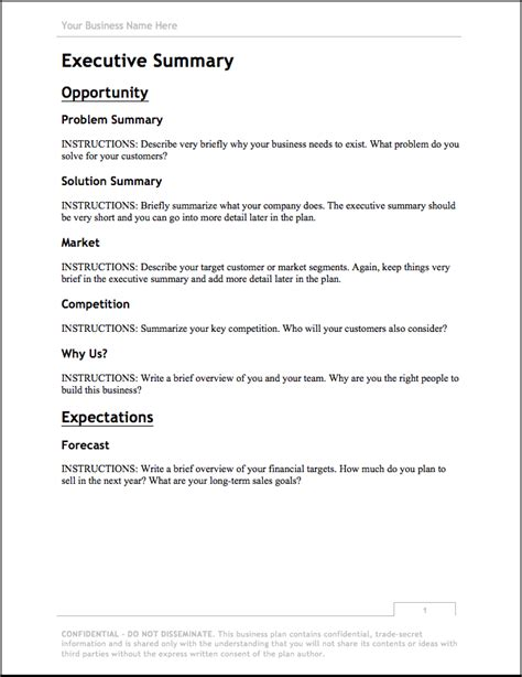 business plan template free bplans