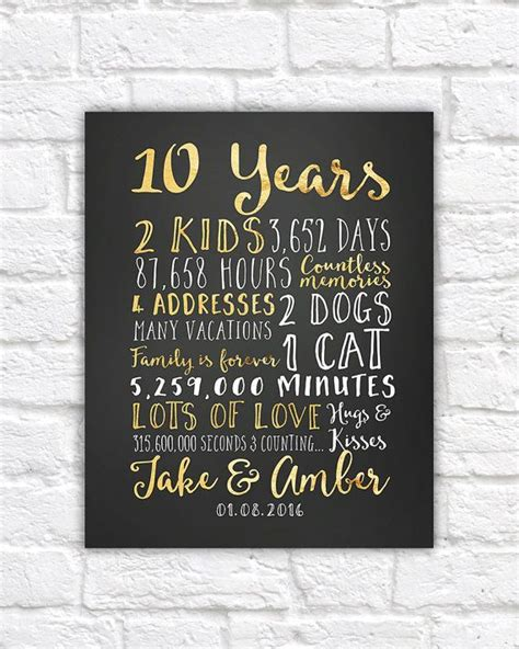 17 best ideas about 10th anniversary gifts on one year anniversary 1 year