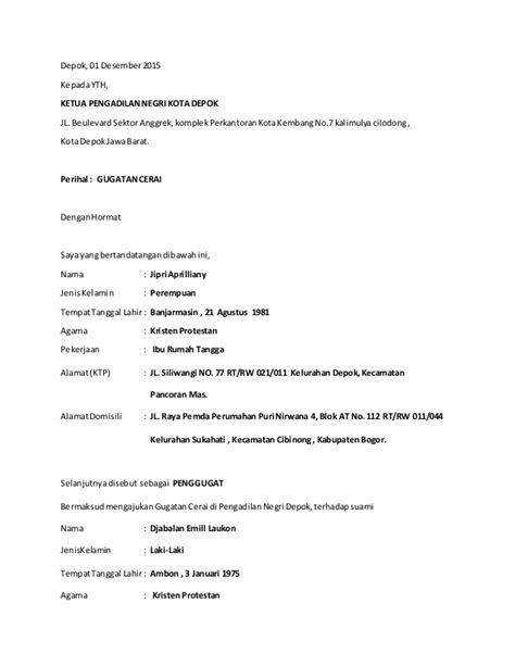 contoh format surat gugatan cerai talak contoh surat permohonan gugatan perceraian