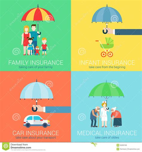 Safira Abstrack Set 4in1 Diskon 4 in 1 insurance business modern flat set concept icons stock vector image 50263165