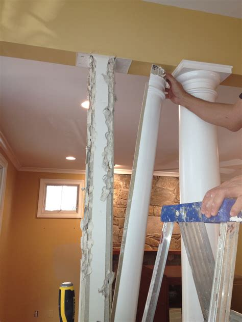 diy columns diy project remove fiberglass columns replace with warm and squared wood reclaimed wood