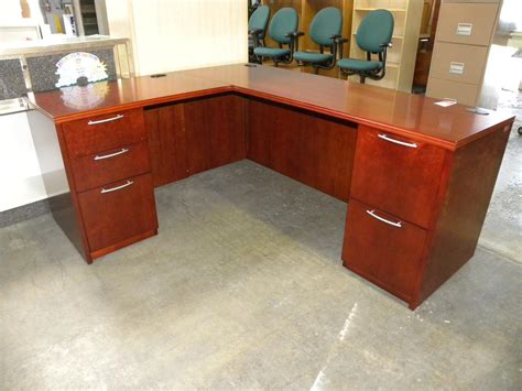 used r series veneer l shaped desk with pedestals
