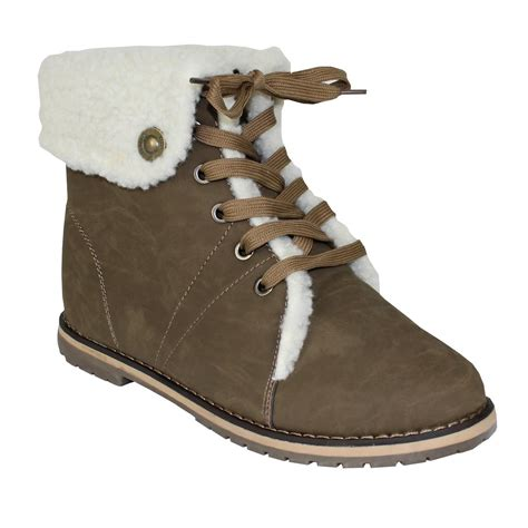 womens snow winter fur ankle flat low heel walking
