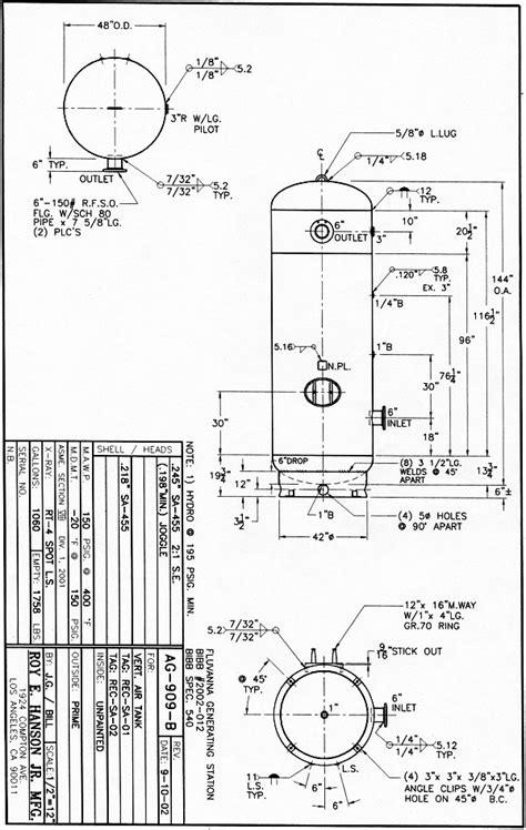 design drawing adalah 1060 gallon asme air receiver tank with ring base 150 psig