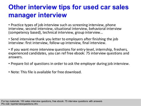 used car sales manager questions and answers