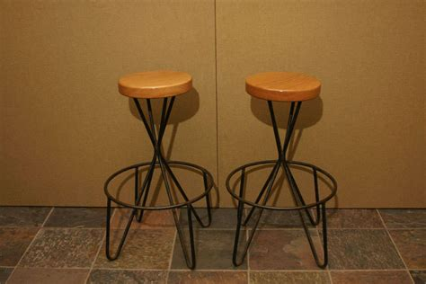 Wrought Iron And Wood Bar Stools pair of wrought iron and wood bar stools at 1stdibs
