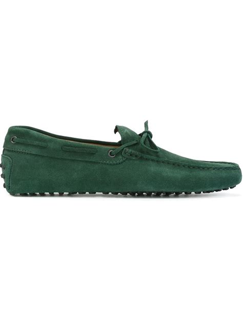 green mens loafers tod s gommino loafers in green for lyst