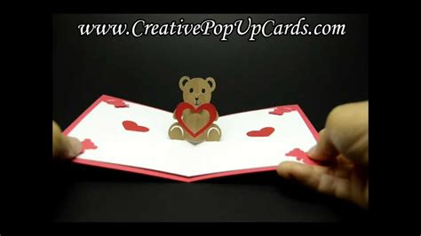 teddy pop up card template free teddy valentines day pop up card