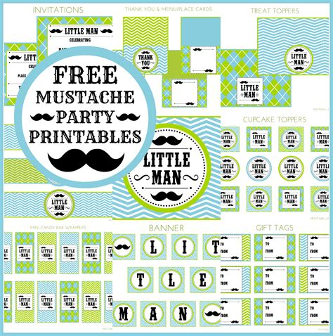 printable birthday supplies free little man mustache bash party printables from