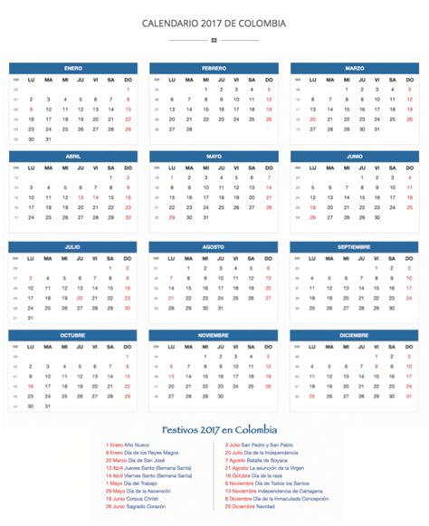 calendario semanas 2017 related keywords calendario