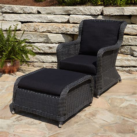 outdoor chair and ottoman alcee resin wicker outdoor chaise lounge chair and cushion