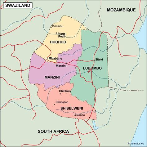 swaziland map swaziland karte st 228 dte