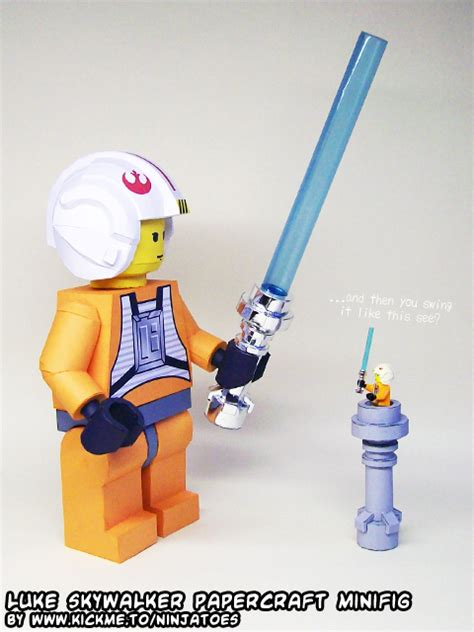 How To Make A Paper Wars Lightsaber - papercraft lego wars luke lightsaber lesson by