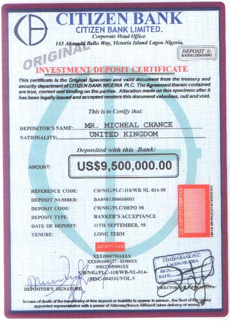certificate of deposit template 419 scam the penpal scam refugee in senegal