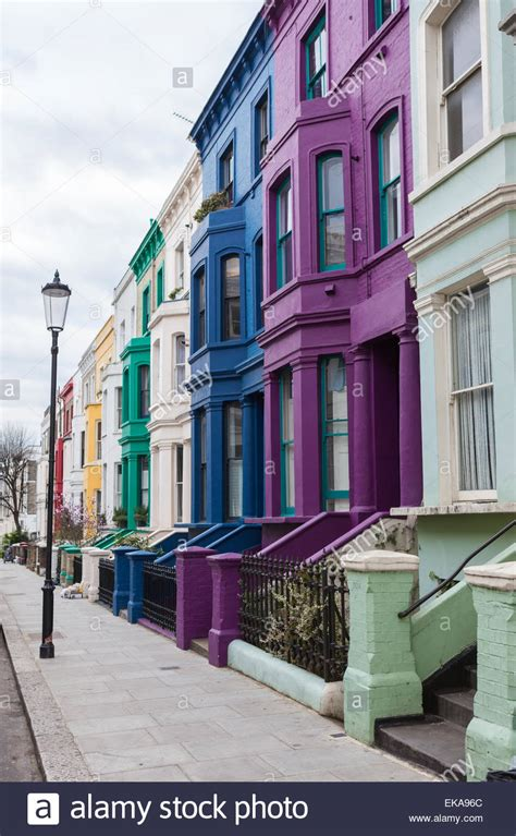 colorful hill notting hill houses colourful stock photos