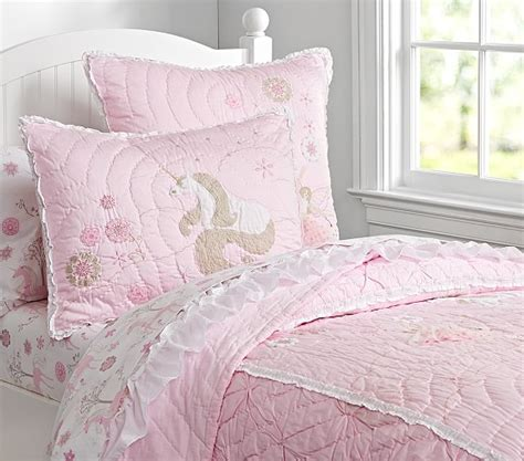 unicorn bedding for kids unicorn quilted bedding pottery barn kids girls room