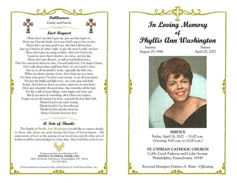 funeral program templates download free premium