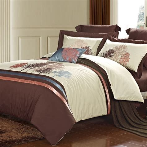 hotel style comforter sets coffee and beige tree of life vintage noble excellence