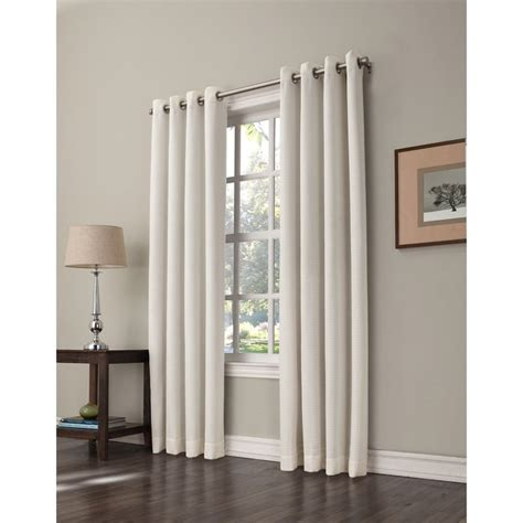 lowes window curtains shop allen roth 84 in l room darkening solid ivory