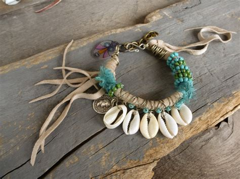 Beach bracelet, leather fringe w turquoise, Cowrie shell bracelet, Hippie, Boho, Gypsy bracelet