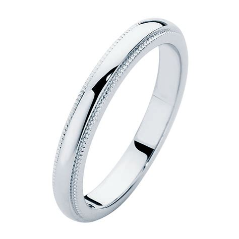 womens vintage platinum wedding ring ladies millgrain