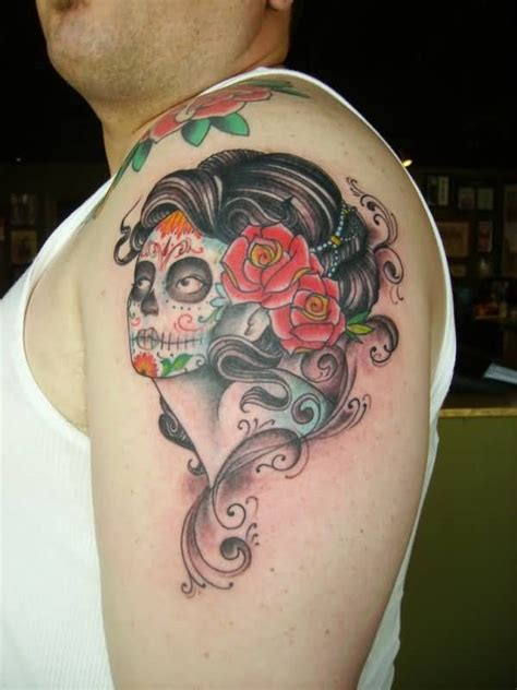 traditional pin up girl tattoo school day of the dead pin up on left shoulder