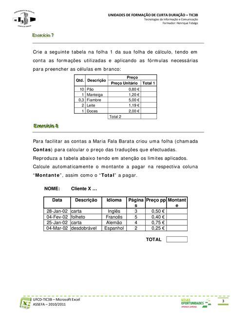 Exercicios Excel - Exercicios Excel - Docsity