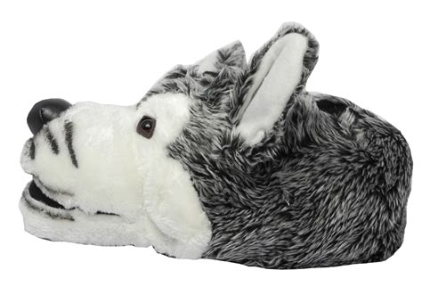 wolf slippers mens boys novelty fur husky wolf animal