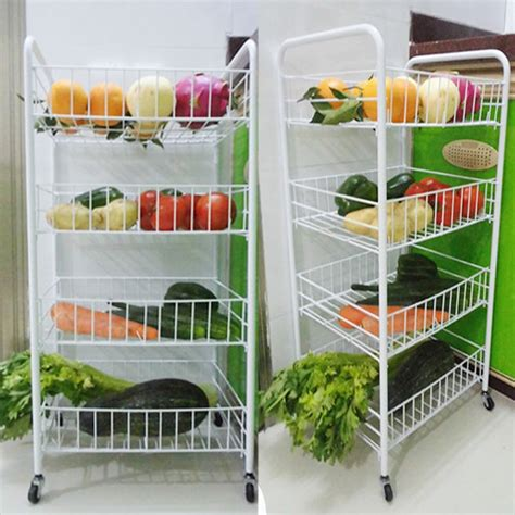 4 Tier Kitchen Fruit Vegetable Rack On Wheels Deep Storage Vegetable Rack For Kitchen