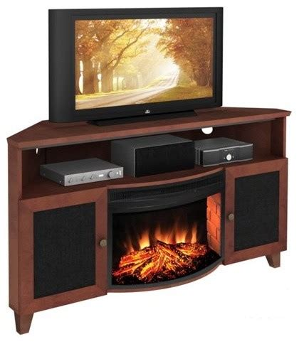 furnitech 60 in shaker style corner tv console with 25 in