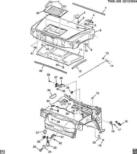 hummer h3 parts diagram 03 09 hummer h2 topkick kodiak latch 15186697
