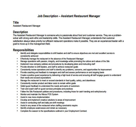 restaurant manager description template 8 free word