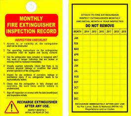 12 fire extinguisher monthly inspection tags valid