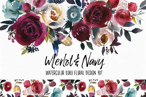 Creative Invitation by Merlot Amp Navy Boho Floral Design Kit Illustrations