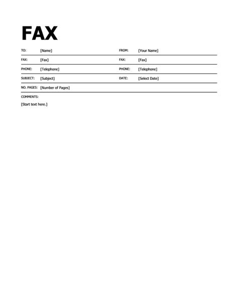 word fax cover sheet