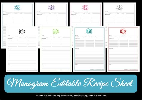 monogram recipe sheet editable recipe card preppy template