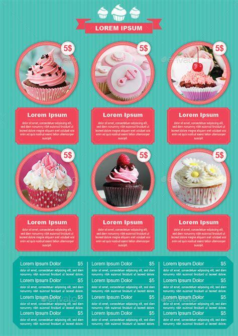 cupcake menu card template bifold cupcake menu template by avindaputri graphicriver
