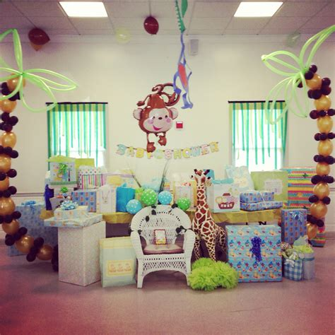Decorating Ideas For Baby Shower Gift Table Gift Table Jungle Themed Baby Shower Baby Shower