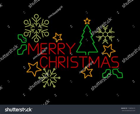neon merry christmas sign stars tree stock vector