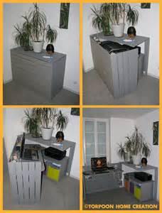 Diy Desk Small Space Diy Un Bureau Cach 233 R 233 Alis 233 Avec Des Palettes Floriane